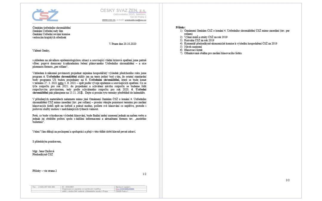 Oznámení členkám ÚS – jednání mimo zasedání